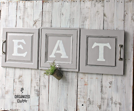 Cabinet Door Repurposed EAT Sign