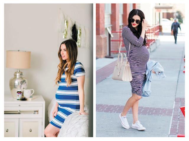 Беременная женщина в платье в полоску