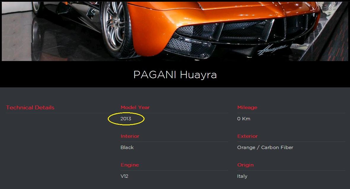 Đời xe 2013, trùng với thông số báo giá bảo hiểm Pagani Huayra lọt ra hôm qua