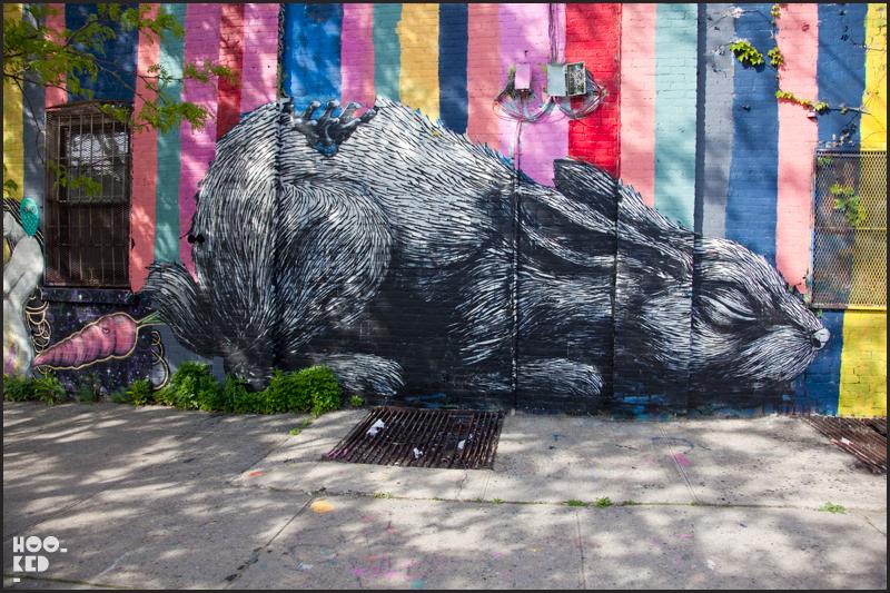 Belgian street artist ROA rabbit mural in Williamsburg New York
