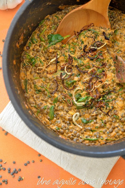 Dahl of green lentils with spinach