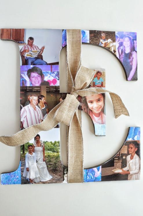 Fotocollage, houten letters - Diy