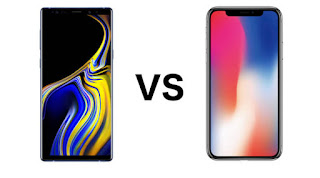 Samsung Galaxy Note 9 and  Apple iPhone X