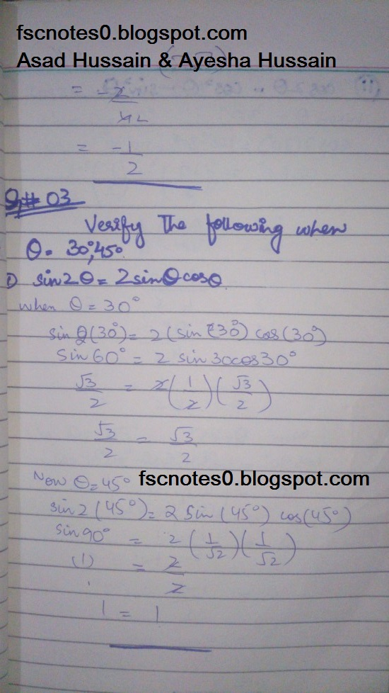 FSc ICS FA Notes Math Part 1 Chapter 9 Fundamentals of Trigonometry Exercise 9.3 Question 2 - 3 by Asad Hussain & Ayesha Hussain 1