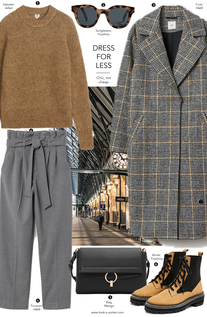 Styling a tweed coat with paperbag trousers and boots for a daywear casual outfit, look-a-porter.com fashion blog