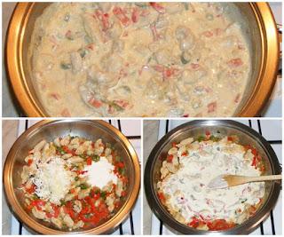 piept de pui cu legume in sos alb picant din smantana preparare, retete culinare, retete de mancare, retete cu pui, preparate din pui, retete cu paste, preparate din paste,