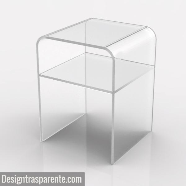 Piccolo comodino in plexiglass salvaspazio