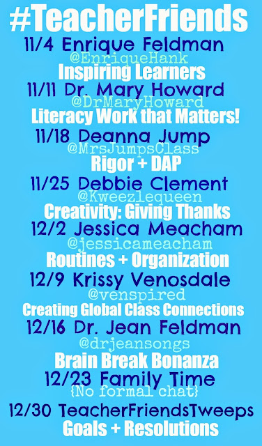 #TeacherFriends Twitter Schedule of Guests: Tuesdays!