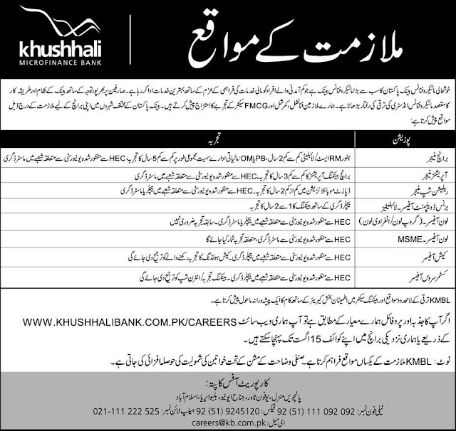 Jobs in Khushhali Bank Limited Pakistan
