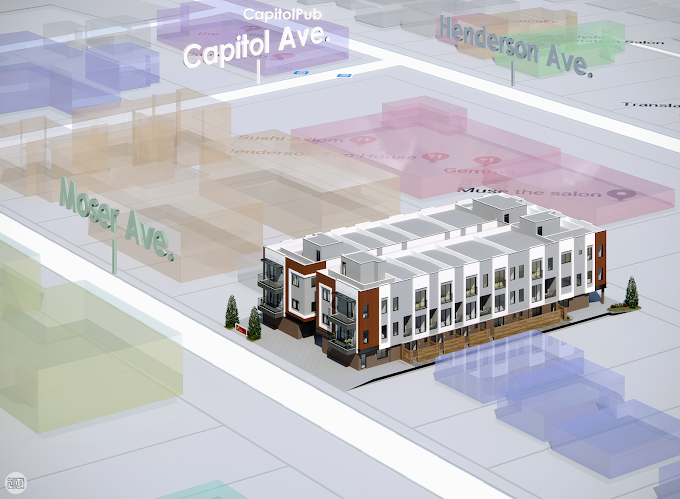 Vibrant Town homes, Dallas, Texas, USA - Location Map Render