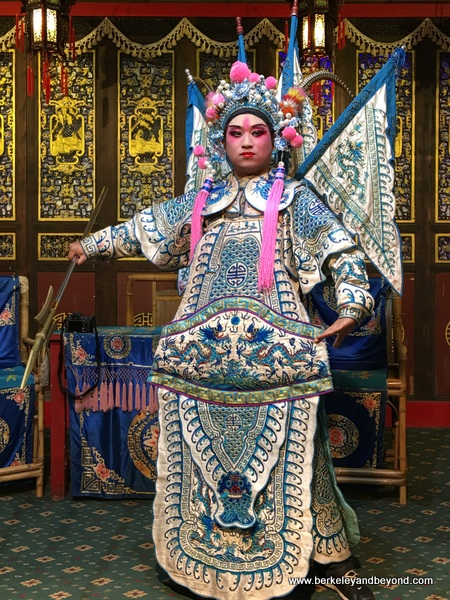 Sichuan Opera performer poses at Shu Feng Ya Yun Teahouse in Chengdu, China