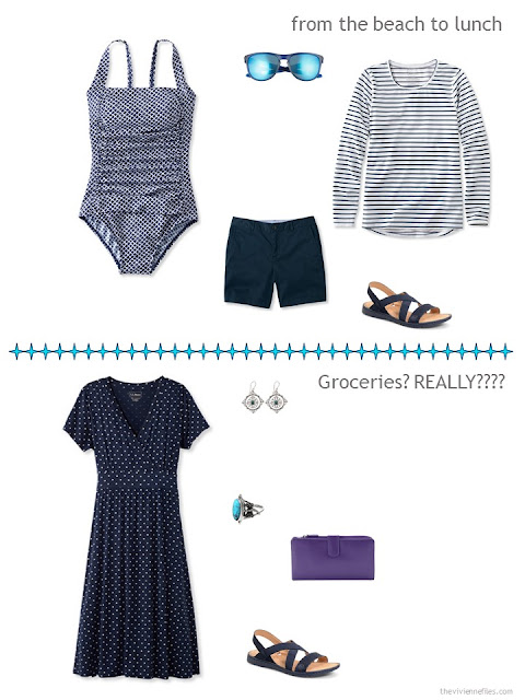 two navy and white ensembles from a warm-weather travel capsule wardrobe