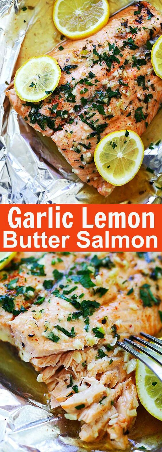 Garlic Lemon Butter Salmon - the easiest foil-wrapped salmon recipe ever with crazy delicious salmon in garlic lemon butter sauce. So good!