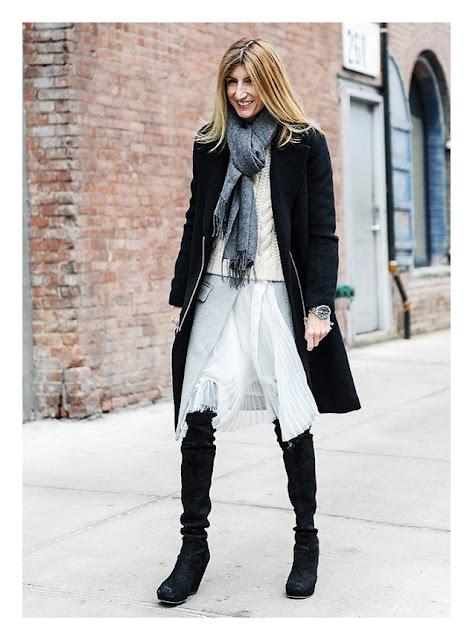 Легкая юбка с жакетом осенью