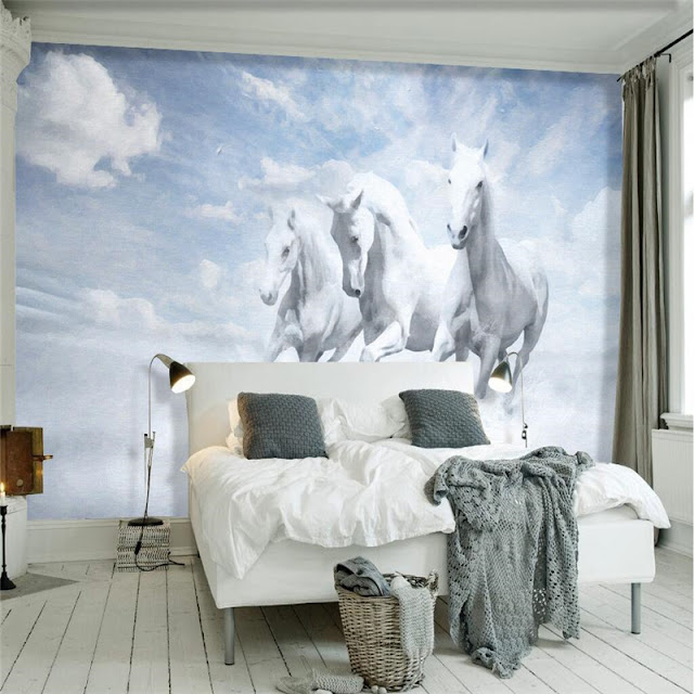 Horse wall murals Wallpaper white horses galloping run photo wallpaper living room bedroom 3d girls room sky