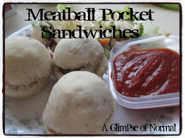 Are you looking for a way to make meatball sandwiches less mess?  Check out my latest recipe for Meatball Pocket Sandwiches at A Glimpse of Normal today.