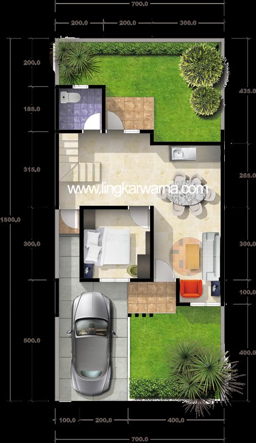 Denah rumah minimalis dua lantai di atas tanah 105m2