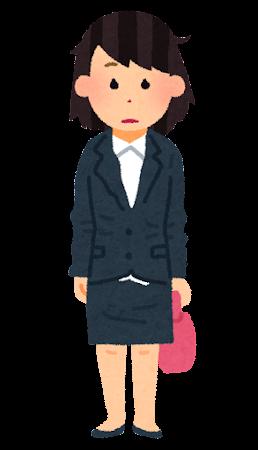 よれよれのスーツを着た女性会社員のイラスト
