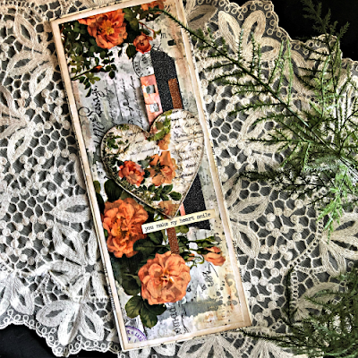 Sara Emily Barker https://sarascloset1.blogspot.com/2019/03/super-easy-tim-holtz-floral-collage.html Vintage Card Tutorial #timholtz #idealogycollagepaper #floral #ranger #distress 1