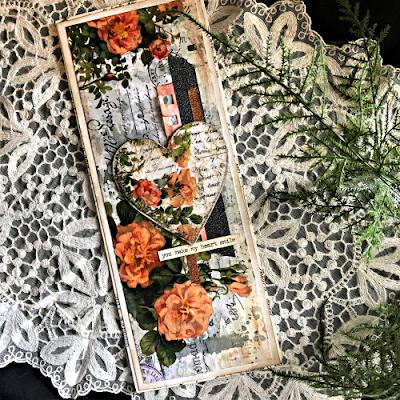 Sara Emily Barker https://sarascloset1.blogspot.com/2019/03/super-easy-tim-holtz-floral-collage.html Vintage Card Tutorial #timholtz #idealogycollagepaper #floral #ranger #distress 1