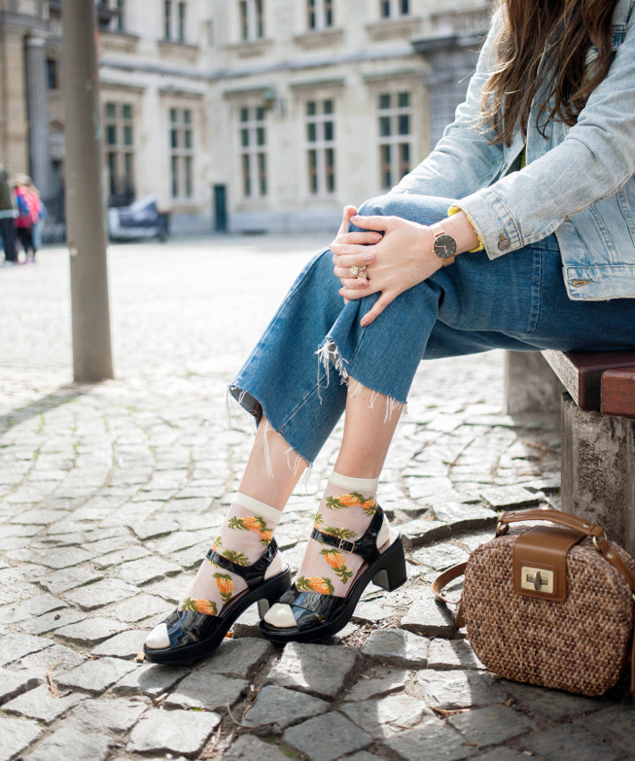Outfit: pineapple socks in sandals