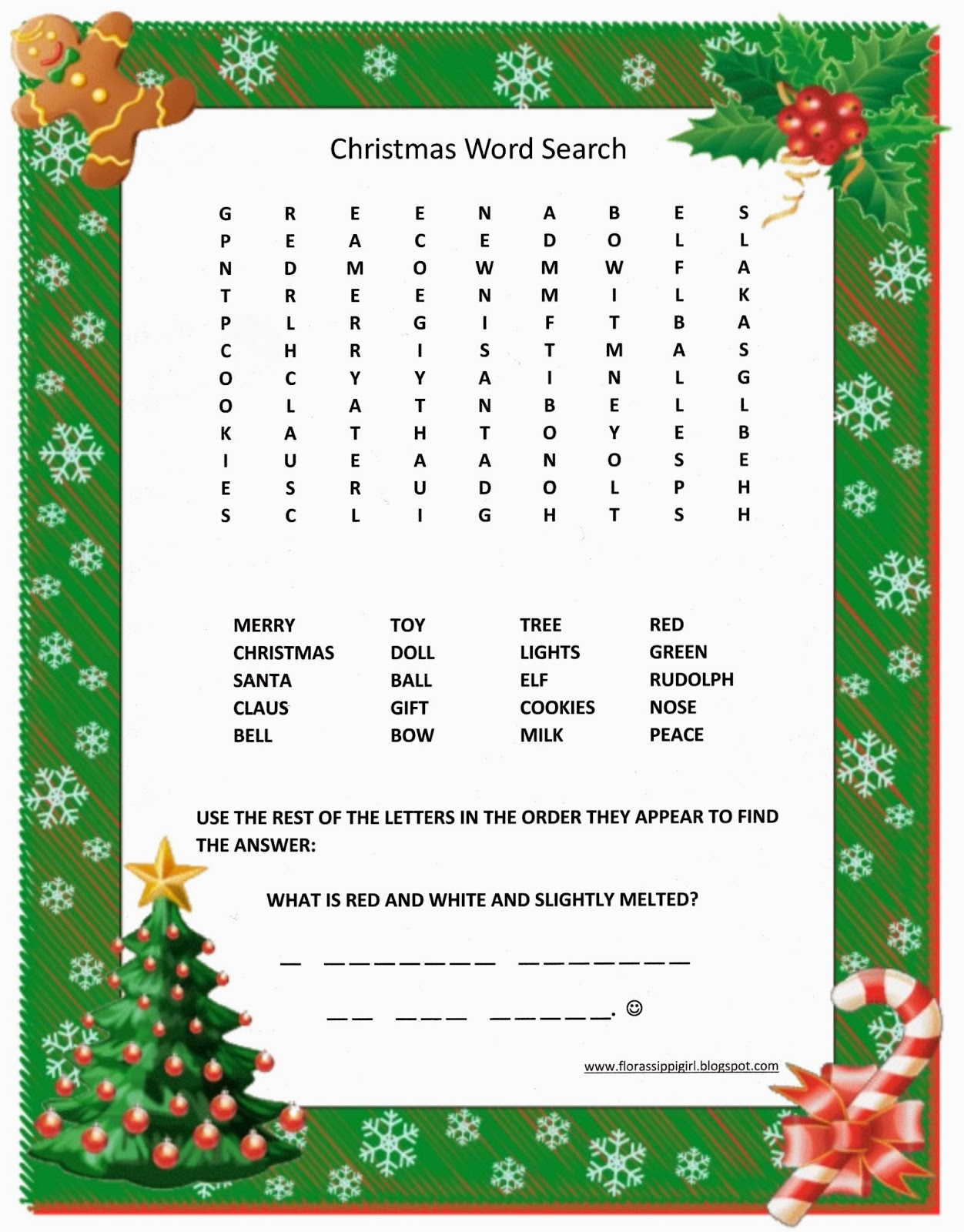 Florassippi Girl Christmas Word Search