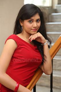 Mounika Telugu Actress in Red Sleeveless Dress Black Boots Spicy Pics 063.JPG