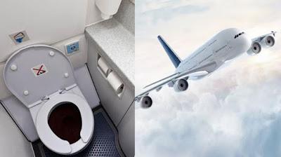 Kotoran di toilet pesawat.