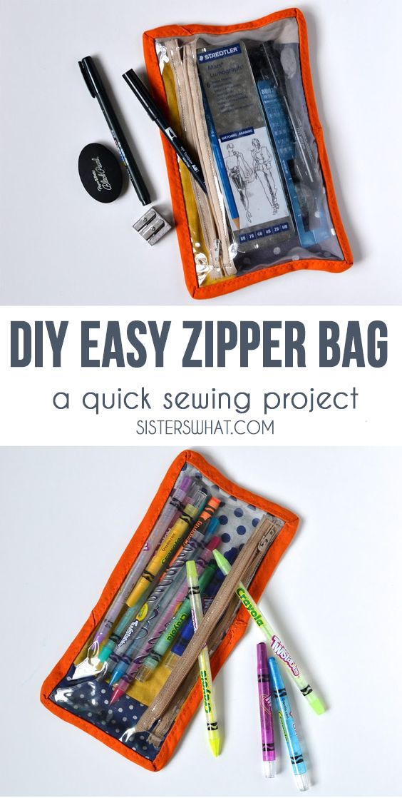 This DIY zipper bag is perfect for a pencil bag or art supplies and is an easy and quick sewing project!