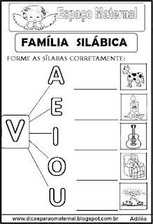 Família silábica alfabetização letra V