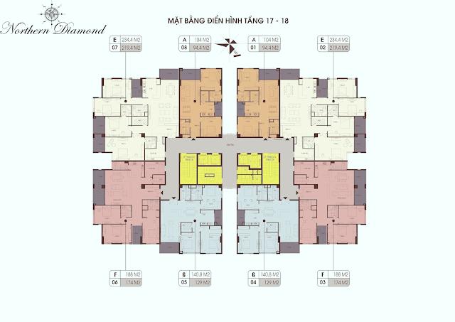 Mặt bằng điển hình tầng 17 - 18 dự án Northern Diamond Long Biên