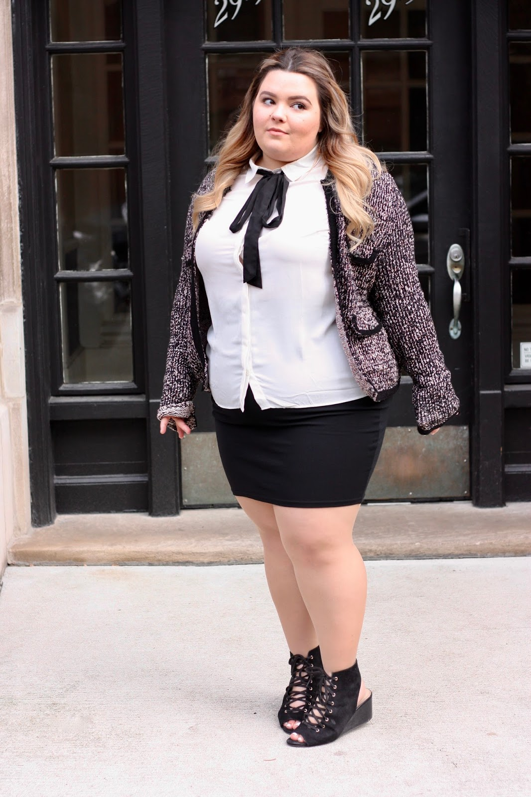 Chanel tweed jacket, Chanel tweed blazer, Zara plus size, natalie in the city, natalie craig, plus size fashion for women, chicago blogger, midwest blogger, fatshion, body positive, preppy plus size, plus size outfits, plus size office attire