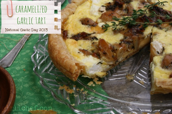 Caramelized Garlic Tart (National Garlic Day 2013) | www.girlichef.com