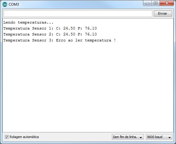 Lendo temperatura sensores DS18B20