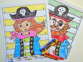 free boy and girl pirate color by number printable sheets for preschoolers