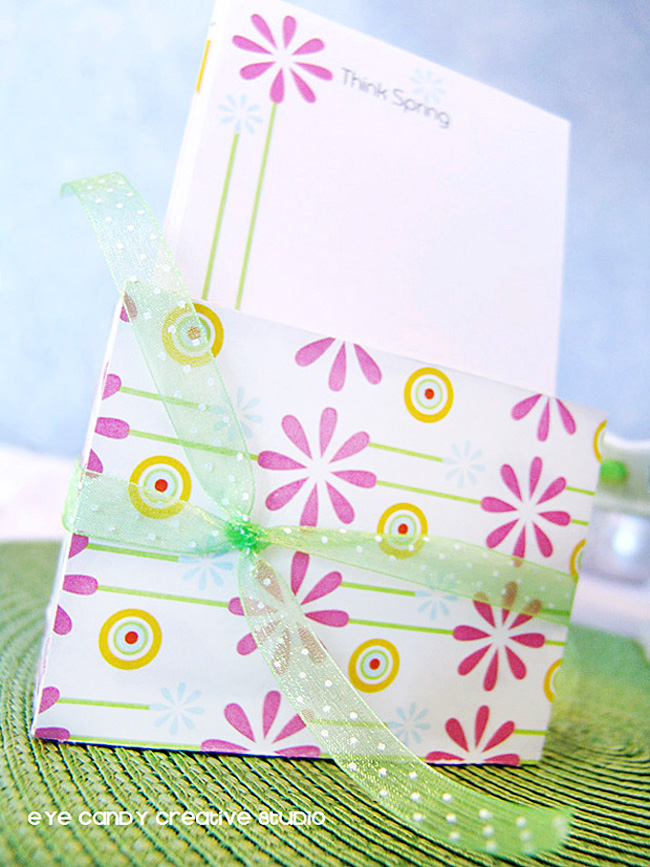 daisy stationery set, think spring, flowers, circles, diy stationery set