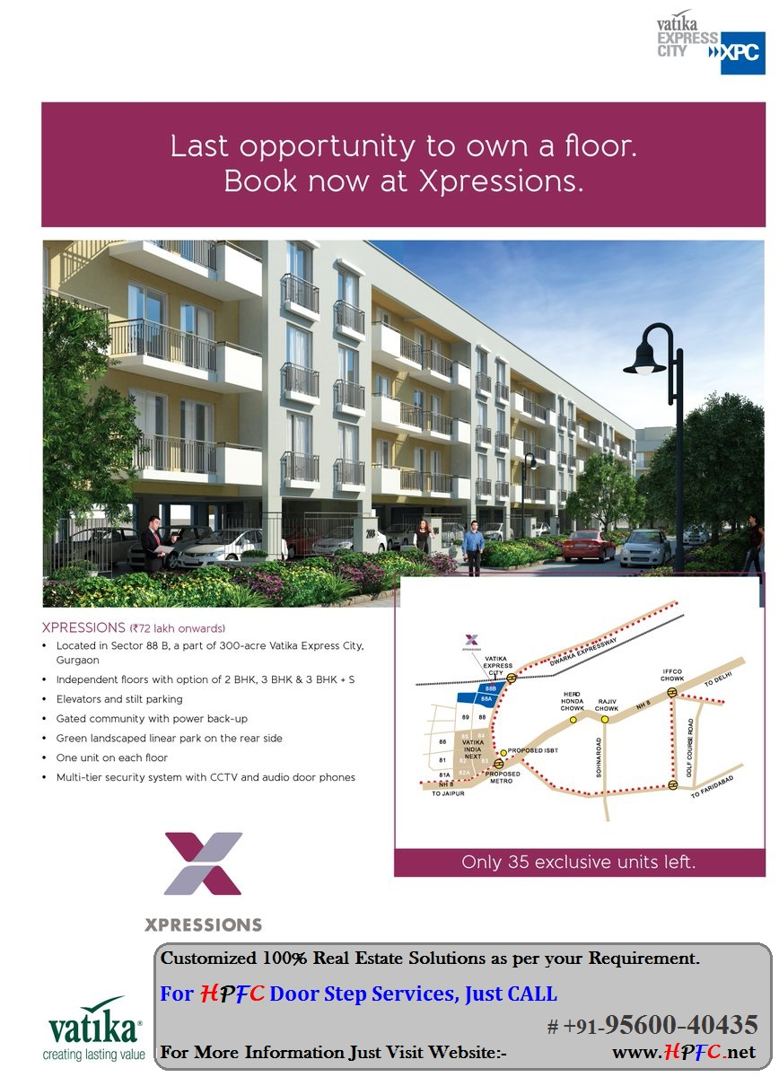 Vatika Xpressions Independent Floors in Vatika Express City, Sector-88B, Gurgaon