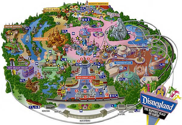 Mapa da Disneyland na Califórnia