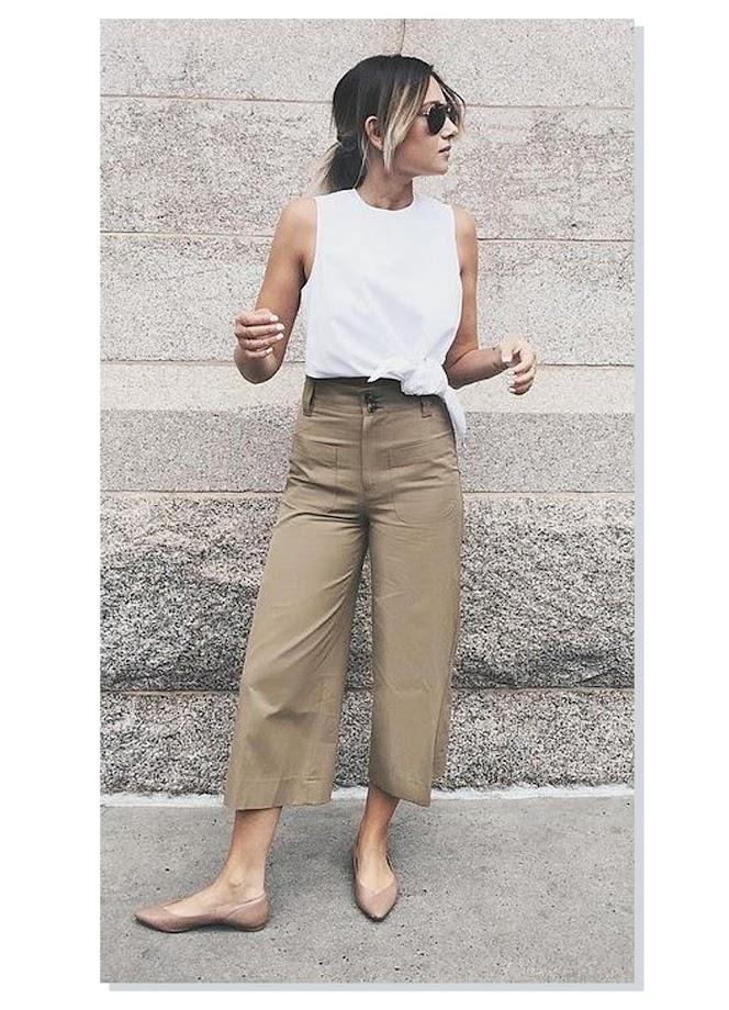 photo-idea-vestir-combinar-pantalon-culotte-kakhi-zapato-plano