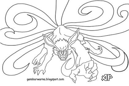 Gambar Mewarnai Naruto Kyubi