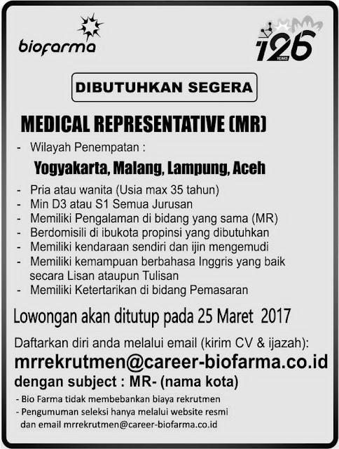 Lowongan Kerja BUMN PT Bio Farma (Persero) Maret 2017