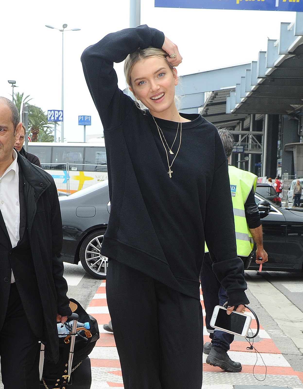 Lily Donaldson Wears All Black as She Arrives for Cannes Film Festival