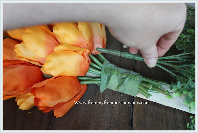 DIY-Carrot Tulip Wreath-Tulip Bundles-Orange-Tutorial-Spring-Easter-Home Decor-Porch-From My Front Porch To Yours