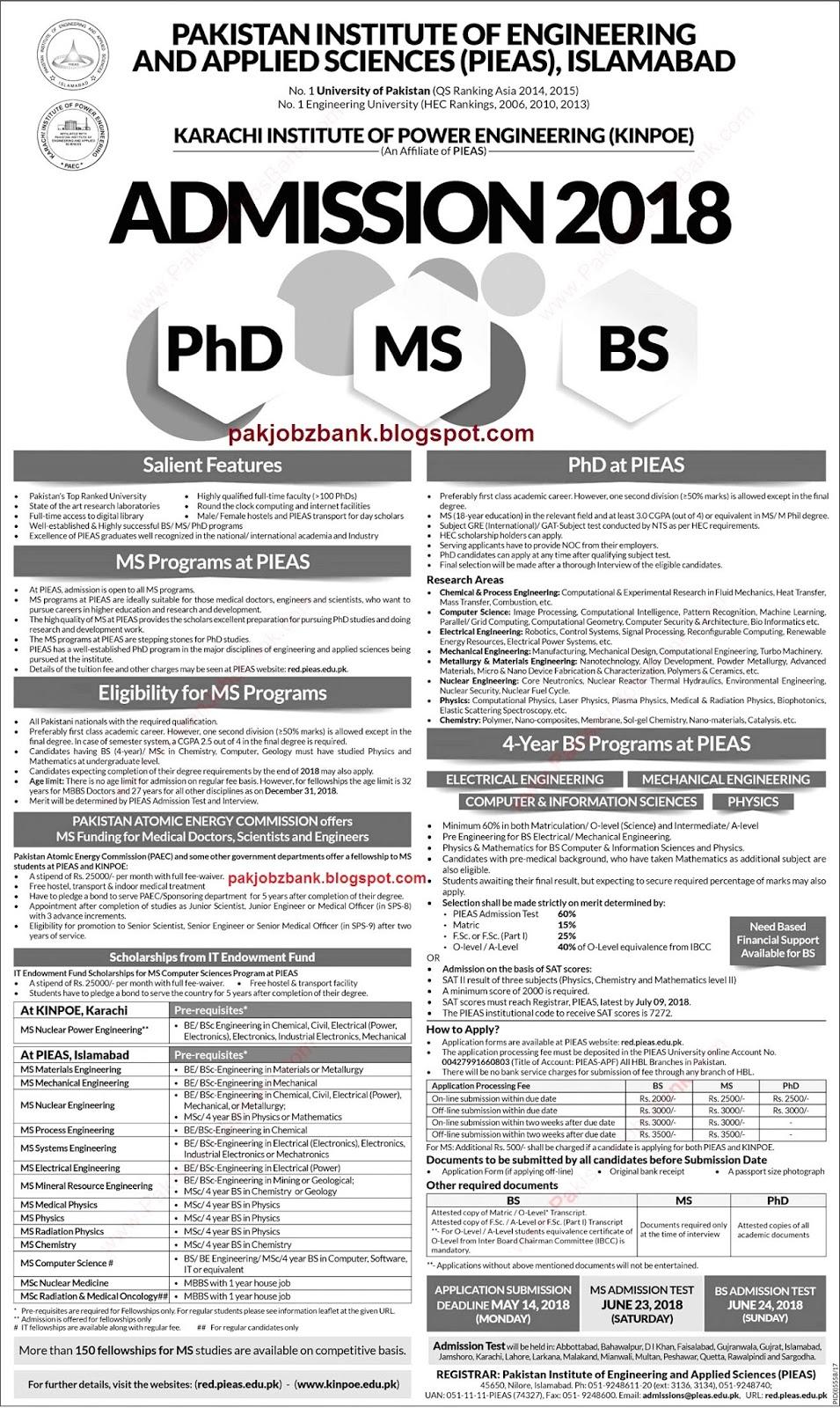 Latest Jobs PAEC Fellowships 2018 Postgraduate / MS Programs at ...