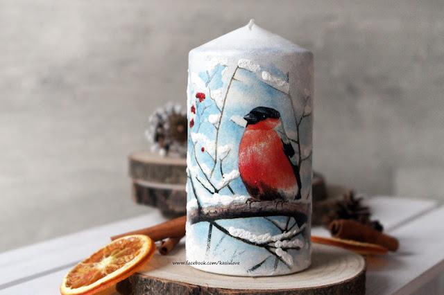 zimowa świateczna świeca decoupage z ptaszkami