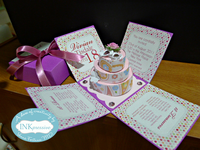 Exploding Box Invitation With 3 Tier Cake