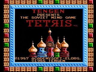 Pantalla de título de Tetris Tengen (Atari Games) para NES, 1988