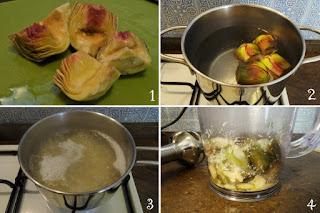 Foto Preparazione pasta condita con crema di carciofo per bambini