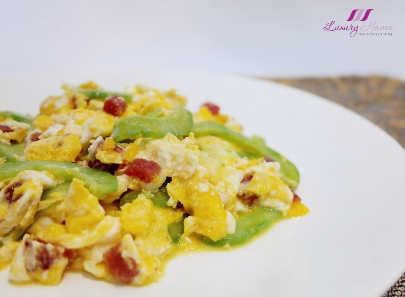 bitter gourd scrambled eggs with chinese sausage recipe