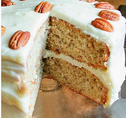 banana cake with coconut pecan frosting